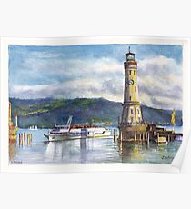 Lindau Lighthouse and Harbour, Germany Poster