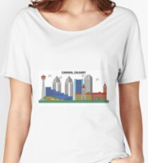 Canada, Calgary City Skyline Design Women's Relaxed Fit T-Shirt