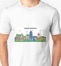Canada, Edmonton City Skyline Design T-Shirt