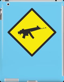 Digital GAMER crossing sign with digital gun rifle by jazzydevil