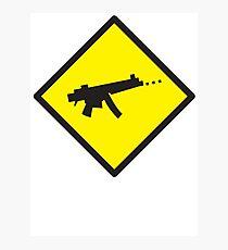 Digital GAMER crossing sign with digital gun rifle Photographic Print