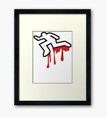 MURDER OUTLINE Coroner outline dead person  Framed Print
