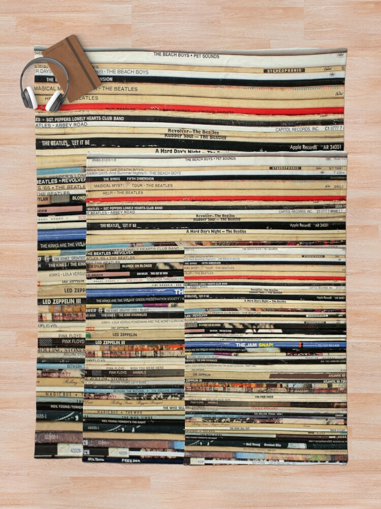 Alternate view of Classic Rock Vinyl Records  Throw Blanket