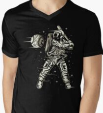 Space Baseball Astronaut Retro Vintage Men's V-Neck T-Shirt