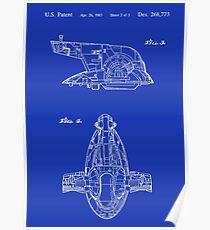 Star Wars Vintage Slave I Toy Spaceship Blueprint Patent Design Kenner Poster