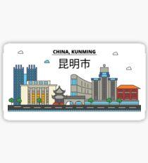 China, Kunming City Skyline Design Sticker