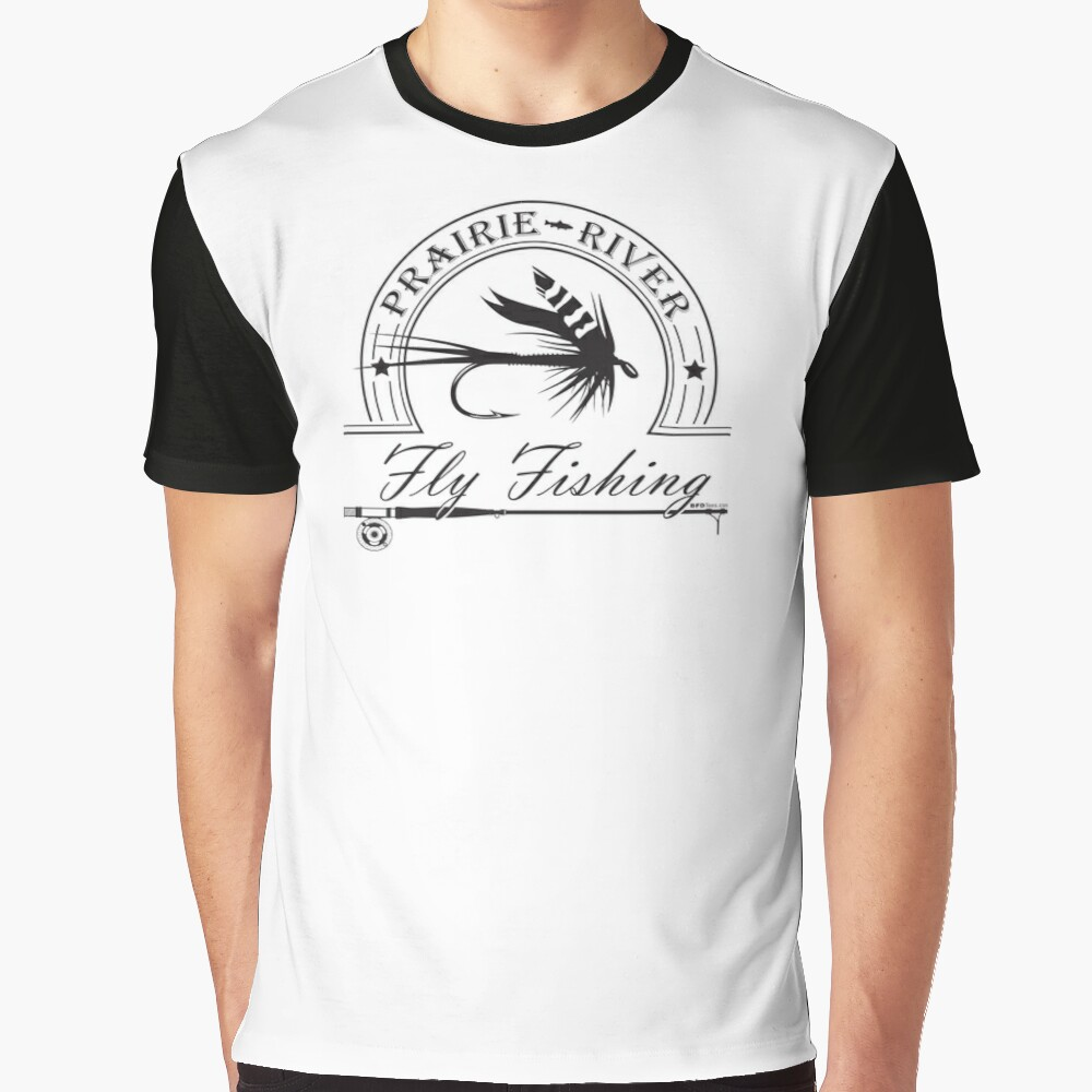 Prairie River Fly Fishing - Black Graphic T-Shirt