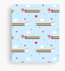 Unicorns and Rainbows Old School Video Game Canvas Print