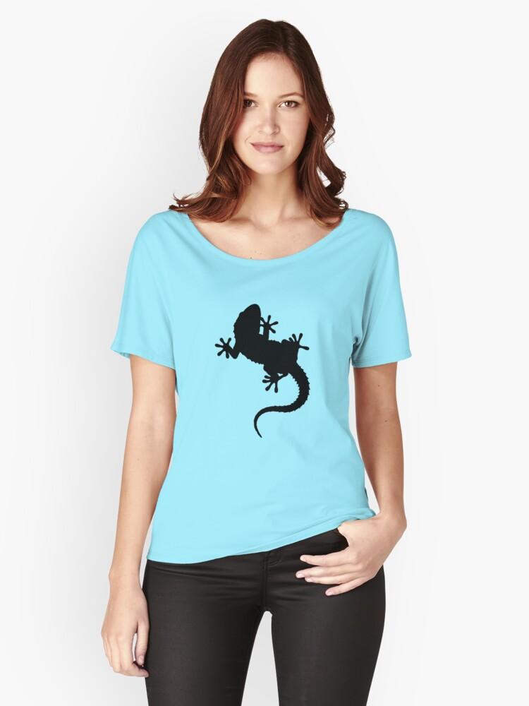 Big Lizard Gecko Silhouette Women's Relaxed Fit T-Shirt Front