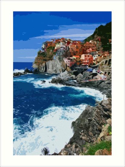 Italy, beautiful Manarola by Andrea Mazzocchetti