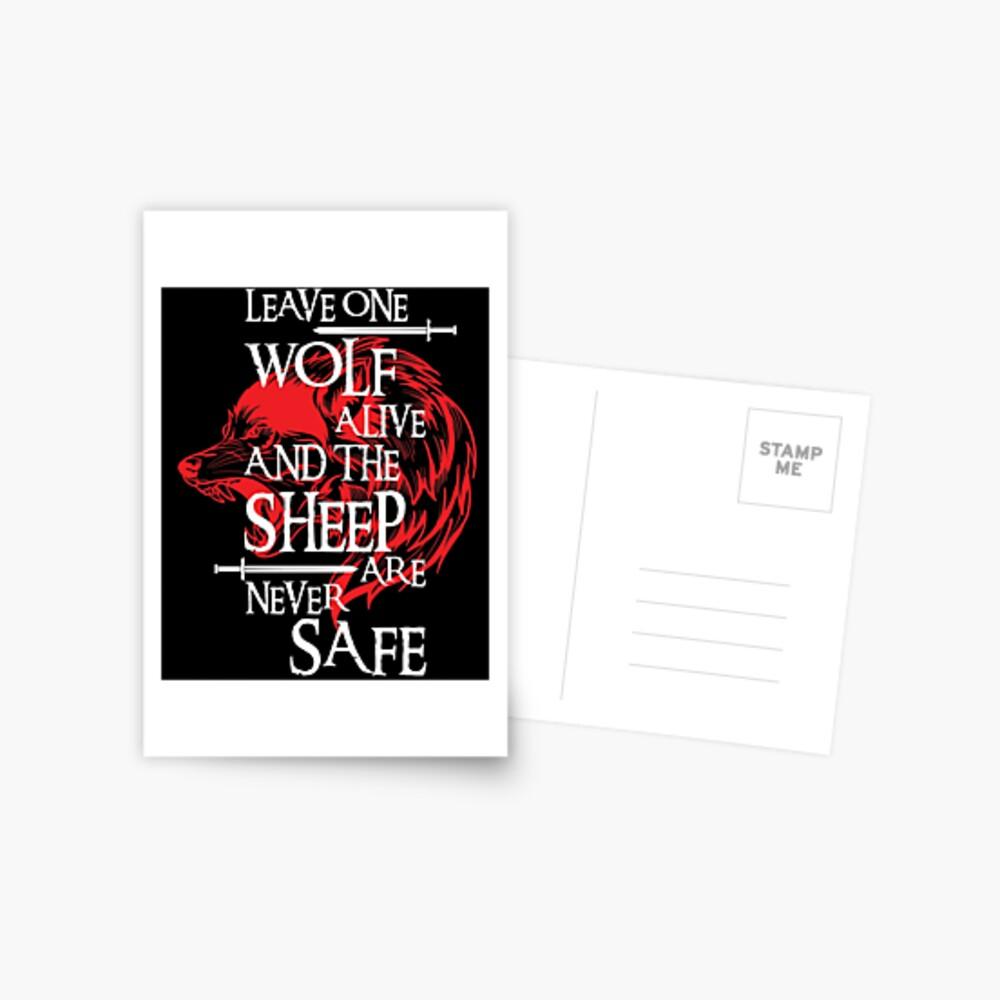Lass einen Wolf lebendig und die Schafe sind nie sicher Postkarte