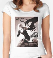 Pin up blond posing with big hands in shadow and bats Women's Fitted Scoop T-Shirt