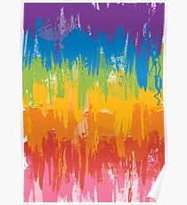 Painted rainbow sunset Poster