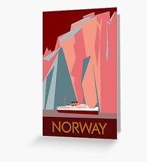 Norway fjords retro vintage style cruise travel  Greeting Card
