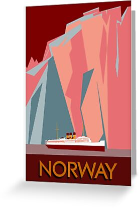 Norway fjords retro vintage style cruise travel  by aapshop