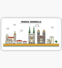 France, Marseille City Skyline Design Sticker