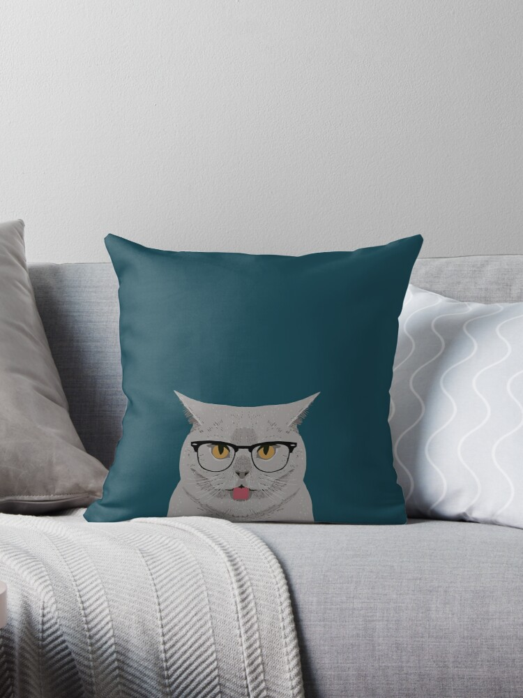 Kai - British shorthair cat gifts for cat lovers, cat lady gifts Cat people gifts, Hipster Glasses by PetFriendly