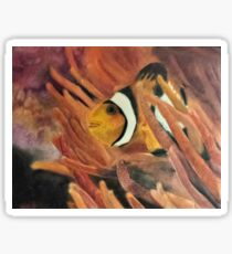"""""""Hide and Seek"""" - Colored Pencil Drawing of Clown Fish in Anemone Sticker"""