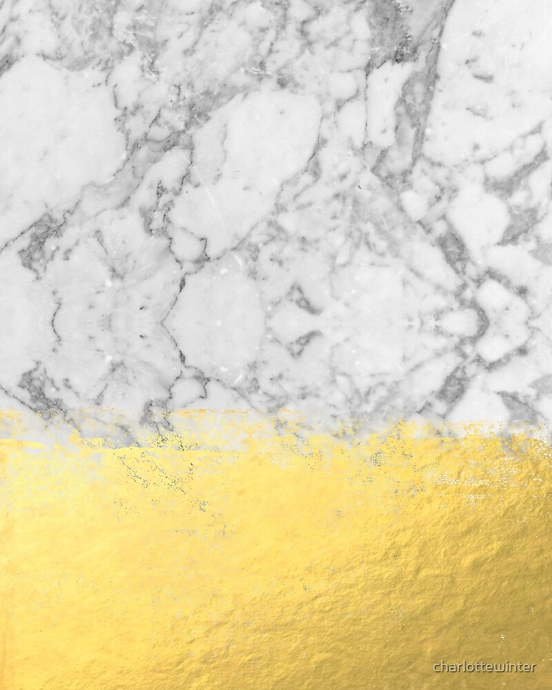 Gold And White Marble : Quot marble with brushed gold foil black