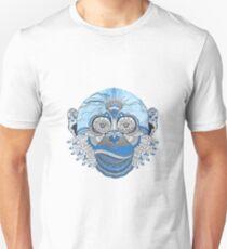 Blue Monkey Face Art Design T-Shirt