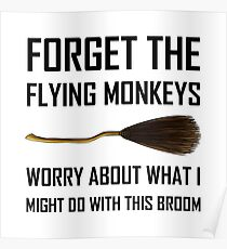 Flying Monkeys Witch Broom Poster