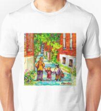 LANEWAY VERDUN MONTREAL PAINTING WALKING HOME BEAUTIFUL SUMMER DAY CITY SCENE CANADIAN ART CAROLE SPANDAU T-Shirt