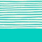 Aqua Color Stripes by Leah Flores