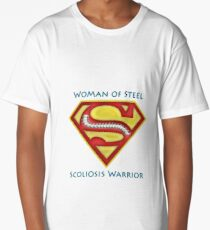 Woman of Steel - Scoliosis Awareness Long T-Shirt