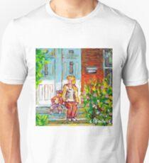 VERDUN MONTREAL PAINTING CANADIAN ART DUPLEX DOORS PORCH SCENE SITTING ON STEPS CAROLE SPANDAU T-Shirt