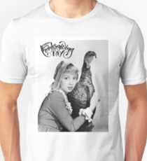 Happy thanksgiving, young blond woman hug a turkey T-Shirt