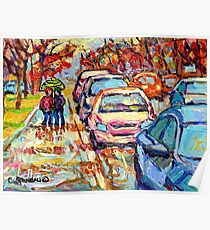VERDUN LASALLE RAINY DAY PAINTING CITY IN THE RAIN UMBRELLA STROLL QUEBEC STREET Poster