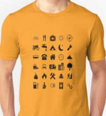 Extreme emoji Travel Help, traveler helper aid icons T-Shirt
