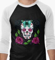 Skull With Teal Butterfly And Red Roses T-Shirt