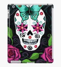 Skull With Teal Butterfly And Red Roses iPad Case/Skin