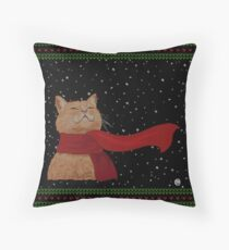 Tabby loves Snow (Knitted-version) Throw Pillow