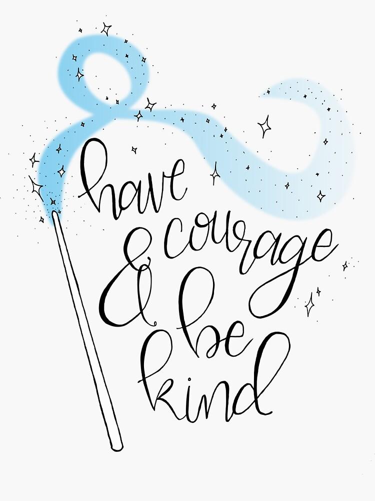 Habe Mut und sei nett - Hand beschriftet Disney Cinderella-Zitat von ThePreppyPagans