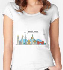 Germany, Munich City Skyline Design Women's Fitted Scoop T-Shirt