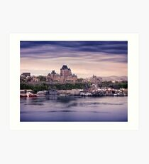Fairmont Le Chateau Frontenac grand hotel and St. Lawrence river Quebec City skyline at dusk art print Art Print