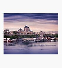 Fairmont Le Chateau Frontenac grand hotel and St. Lawrence river Quebec City skyline at dusk art print Photographic Print