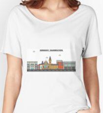 Germany, Saarbrucken City Skyline Design Women's Relaxed Fit T-Shirt