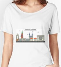 Germany, Schwerin City Skyline Design Women's Relaxed Fit T-Shirt