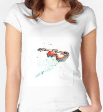 Violin drawn with feather Women's Fitted Scoop T-Shirt
