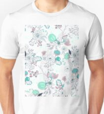 Coral turquoise modern abstract floral illustration T-Shirt