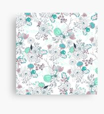 Coral turquoise modern abstract floral illustration Canvas Print
