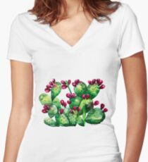 Prickly, Prickly Pear Cactus Women's Fitted V-Neck T-Shirt