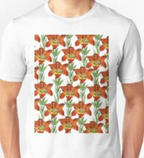 Vintage orange yellow green lily floral pattern T-Shirt