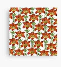 Vintage orange yellow green lily floral pattern Canvas Print