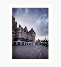 Dufferin terrace at Fairmont Le Chateau Frontenac grand hotel in Quebec city with dramatic skies art print Art Print