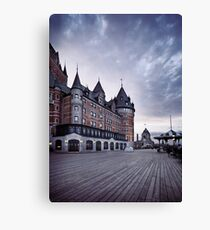 Dufferin terrace at Fairmont Le Chateau Frontenac grand hotel in Quebec city with dramatic skies art print Canvas Print