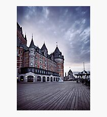Dufferin terrace at Fairmont Le Chateau Frontenac grand hotel in Quebec city with dramatic skies art print Photographic Print